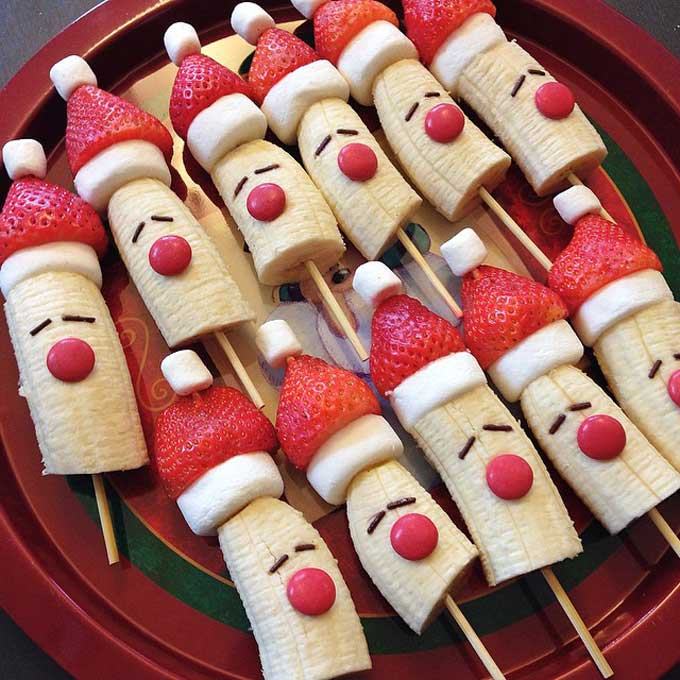 Santa Kebobs Made From Banana with Strawberry Hat