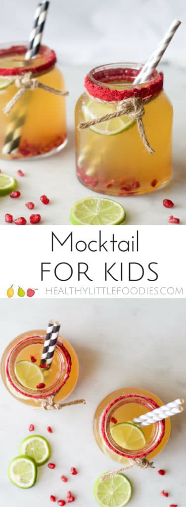 mocktail for kids, fresh juice with sparkling water