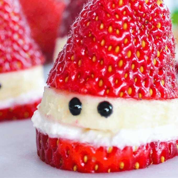 Santa Made From Strawberry Banana and Yoghurt