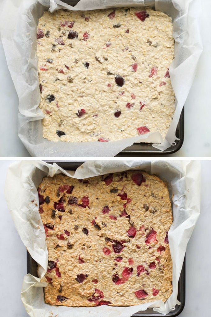 Plum and Almond Baked Oats Shown Before and After Baking