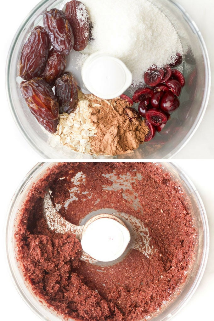 cherry bliss ball ingredients in food processor before and after blending