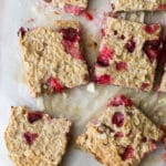 plum and almond baked oats sliced into squares