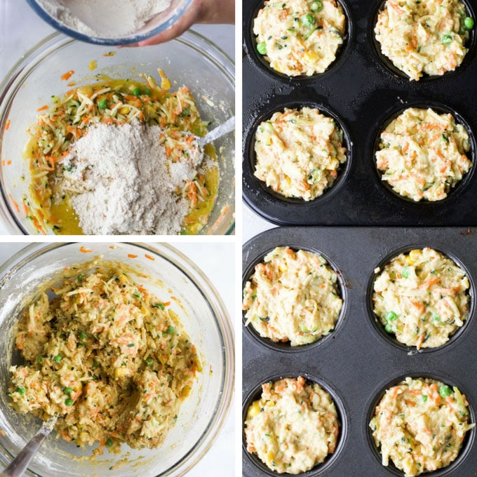 Vegetable Muffins Raw Mixture in Muffin Tray