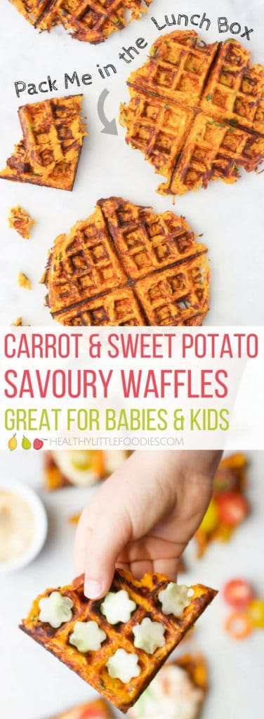 Shredded Sweet Potato Savoury Waffles. A great way to get kids to eat their veggies. Easy to adapt and a great way to use up old vegetables. Great for the lunchbox, good for Baby-led Weaning.