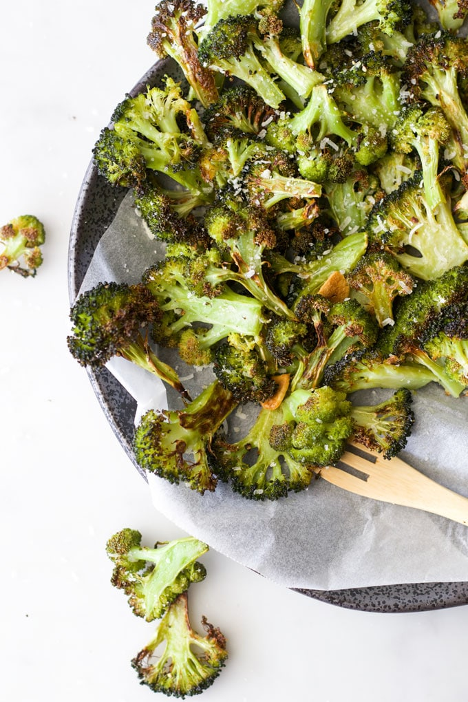 Oven Roasted Broccoli Cooked and on Serving Plate