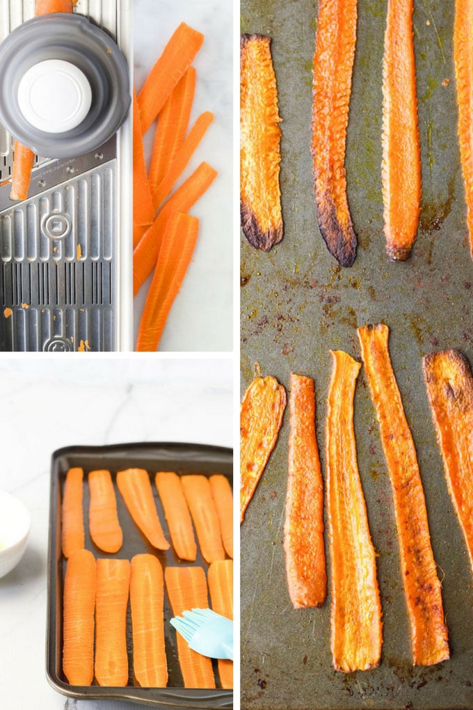 Collage of Roasted Carrot Strips Steps. Slicing Carrots on Mandoline, Brushing Carrots with Oil and Carrots Strips out of Oven
