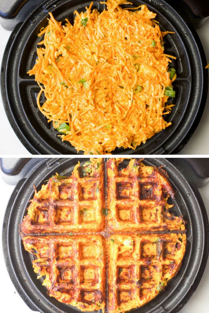 Savoury Waffles Shown in Waffle Machine Before and After Cooking