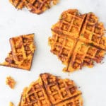Savoury Waffles Cooked. Top Down View.