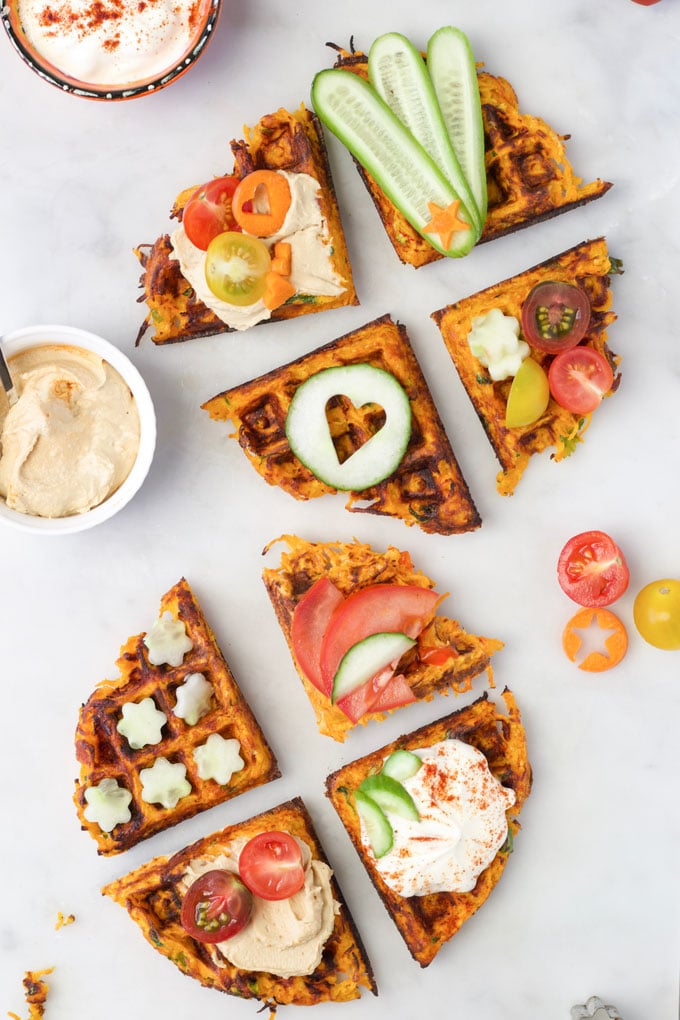 Savoury Waffles Topped with Various Toppings