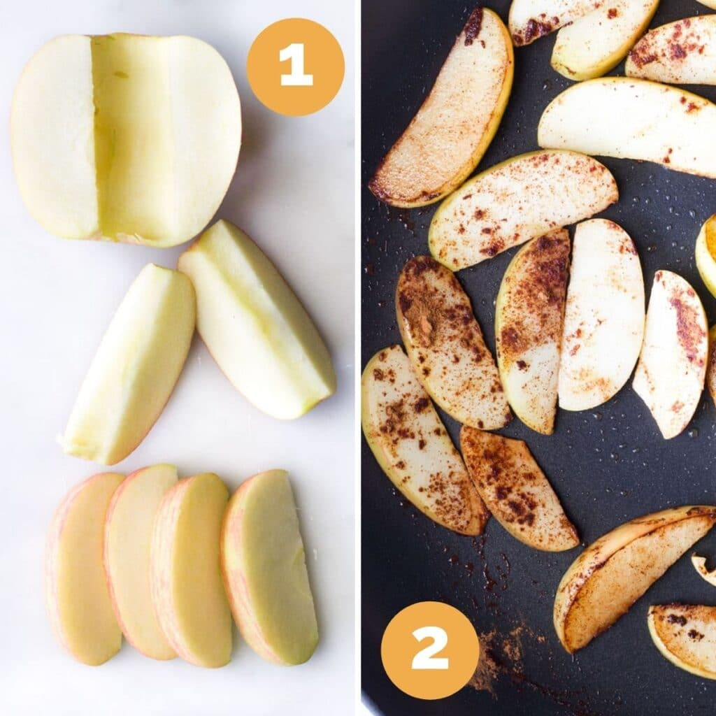 Collage of 2 Images. 1) Cutting Apple into 8 Wedges 2) Apple Wedges in Pan