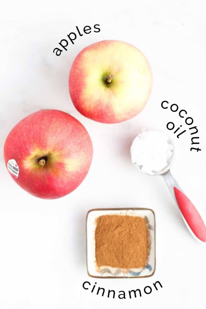 Flat Lay of Apples, Coconut Oil and Cinnamon