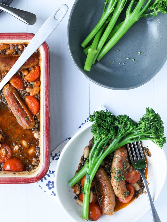Beef and Lentil Bake Served with Broccolini in Bowl