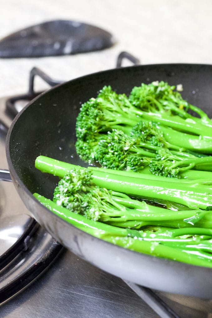 Sautéed Broccolini in Pan
