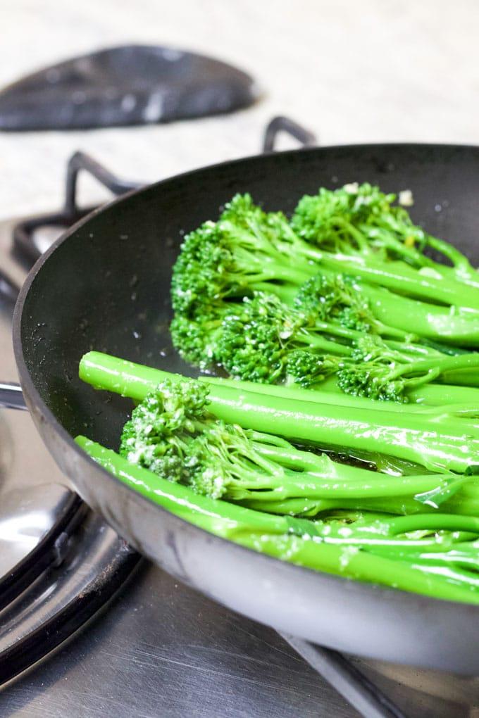 Sautéed Broccolini in Pan