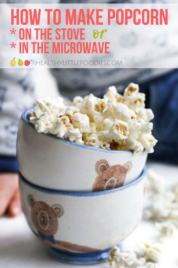 Make your own popcorn in the microwave or the stove. Kids love seeing the popcorn pop and it is so much healthier than most commercial bought popcorn