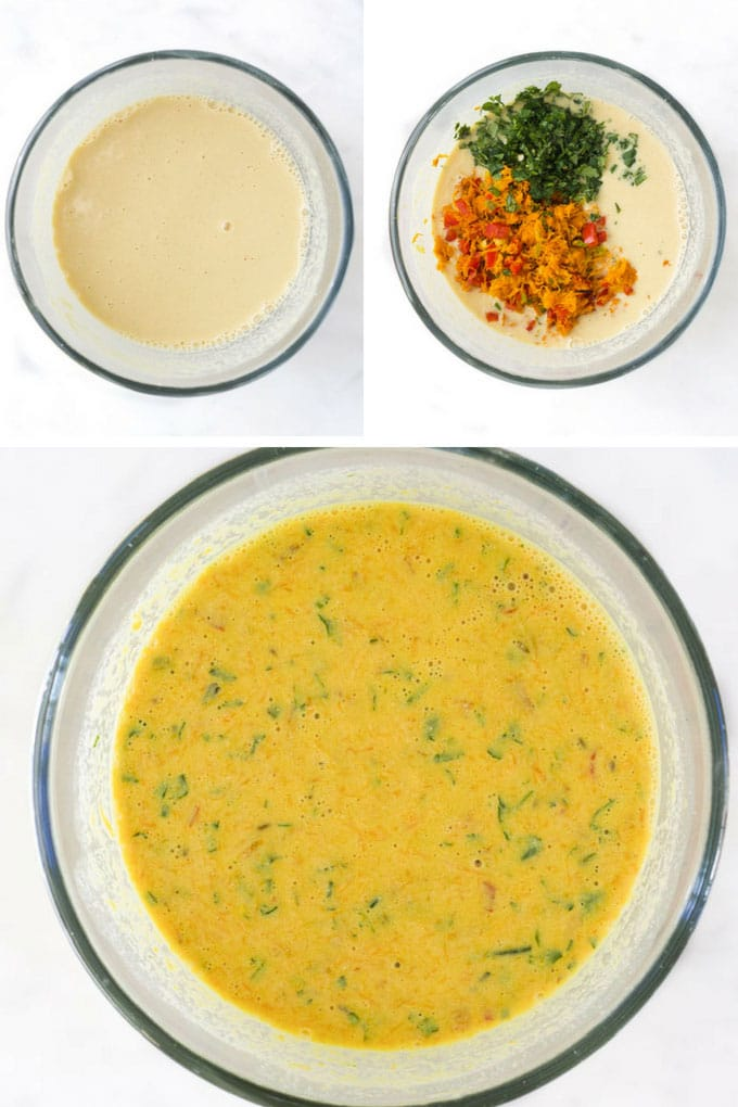Chickpea Pancake Batter Before and After Vegetables Mixed In