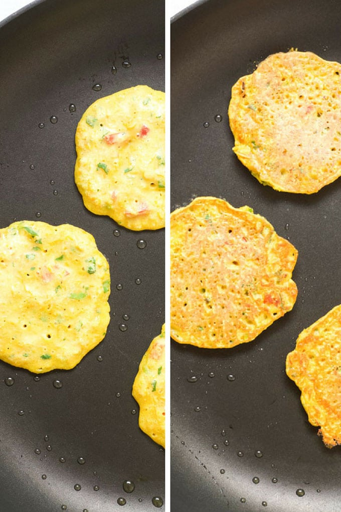 chickpea Pancakes in Frying Pan