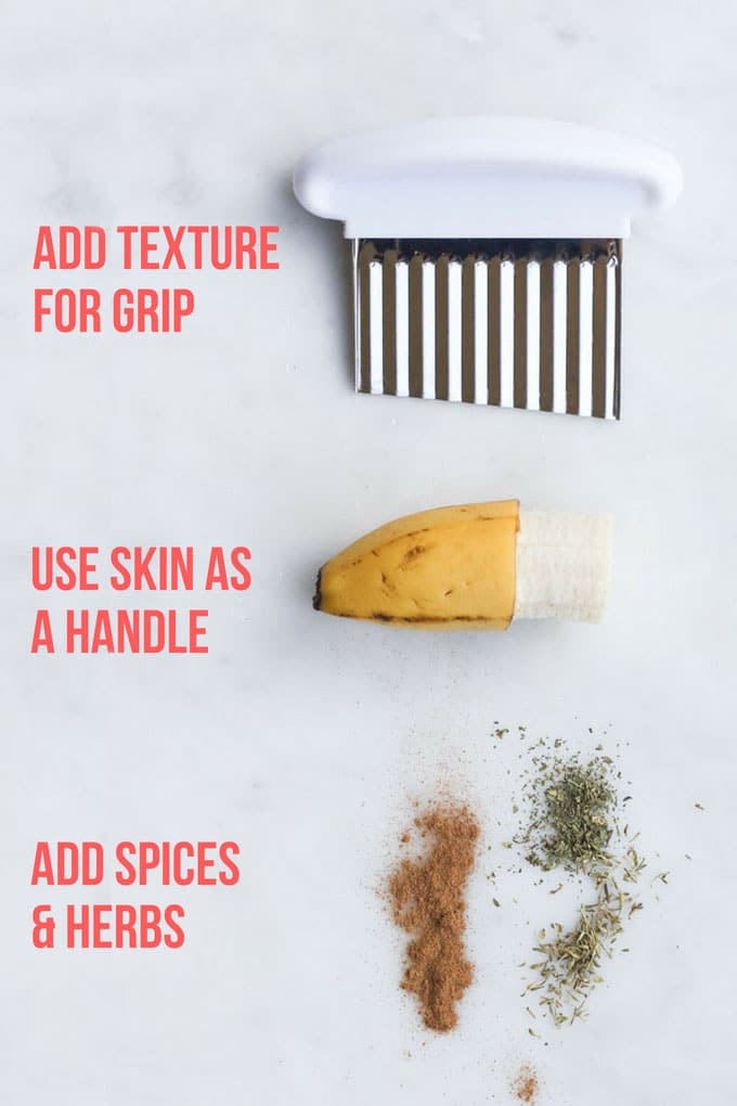 Tips for How to Prepare Finger Food for Babies - A Crinkle Cutter, Banana Skin as Handle and Spices