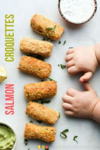 Delicious Salmon and Pea Croquettes. A perfect finger food for Baby-Led Weaning but loved by both kids and adults. Instructions for both baking and frying. #babyledweaning #croquettes #salmon #salmoncroquettes #kidsfood