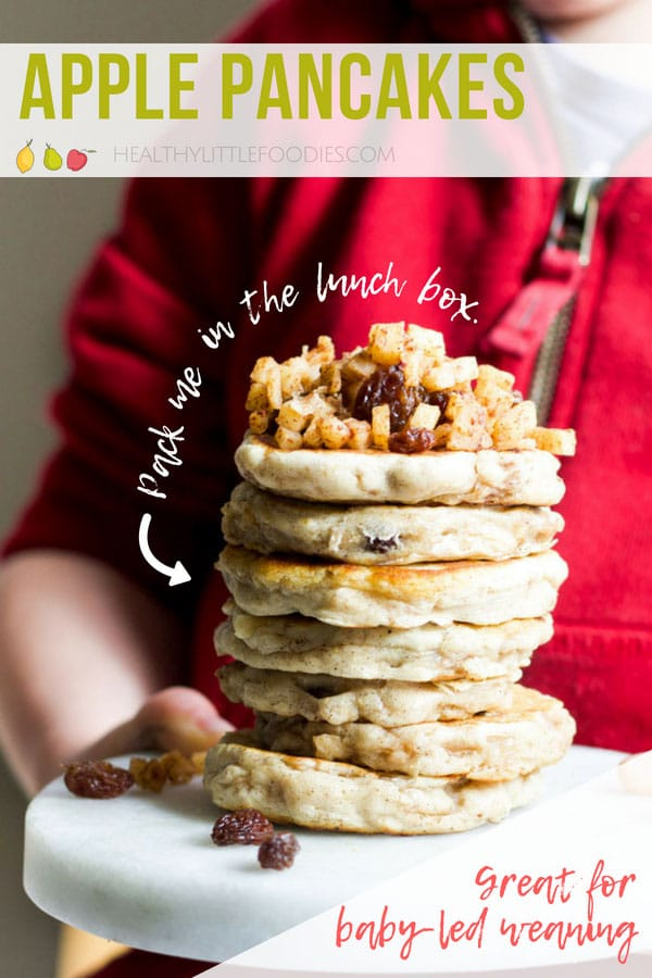 Delicious pancakes filled with cinnamon spiced apple and raisins. A great finger food for baby-led weaning, toddlers or for adding to s lunchbox.