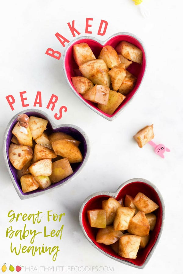 Delicious cinnamon-spiced baked pears. No refined sugar or sweeteners. Perfect for baby-led weaning, kids and adults. Add to oatmeal, yogurt or top with granola for a tasty breakfast. Serve warm with ice-cream for a delicious dessert. #bakedpears #pears #babyledweaning #healthydessert