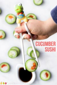 Cucumber sushi is a fun but healthy snack for kids. Easy to prepare, a good way to get kids in the kitchen and a great lunchbox filler. #healthysnack #kidsfood #sushi #cucumber
