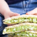 Avocado Egg Salad Sandwiches Cut and Stacked