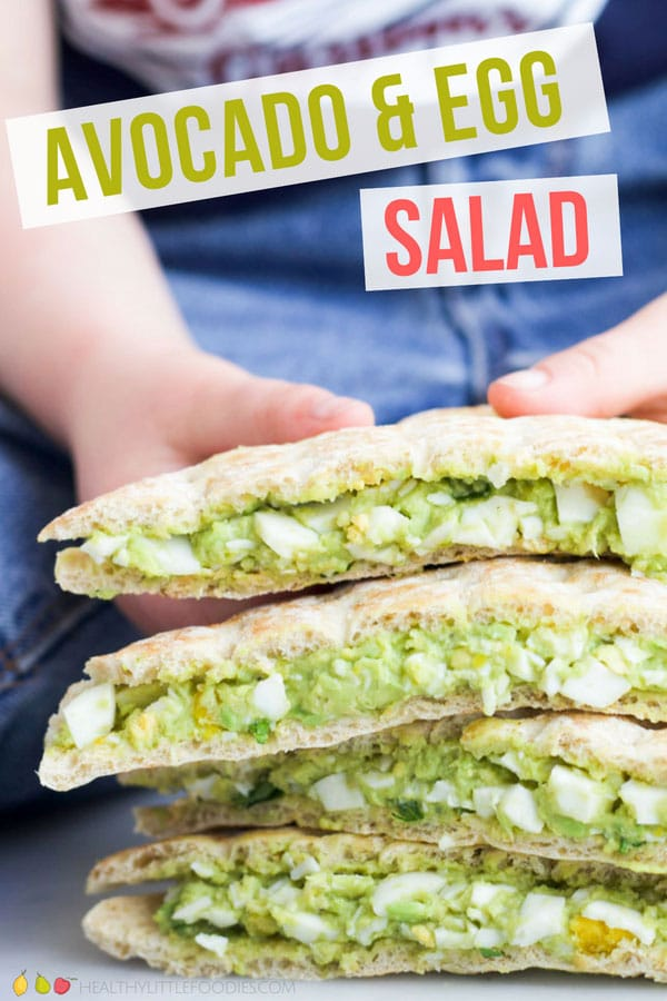 This avocado and egg salad is so creamy and packed full of flavour and goodness. Avocado replaces mayo in this delicious spread made with only real ingredients. Great for babies, kids and adults. #avocado #egg #lunch #avocadoeggsalad #sandwichfiller
