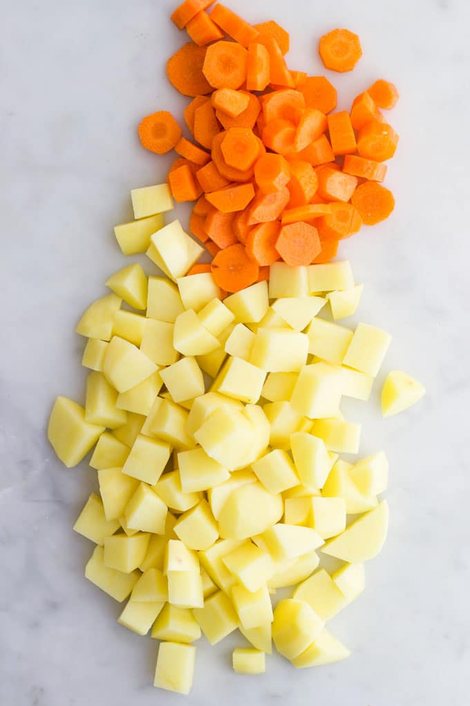 Potato and Carrots Peeled and Chopped Before Being Cooked
