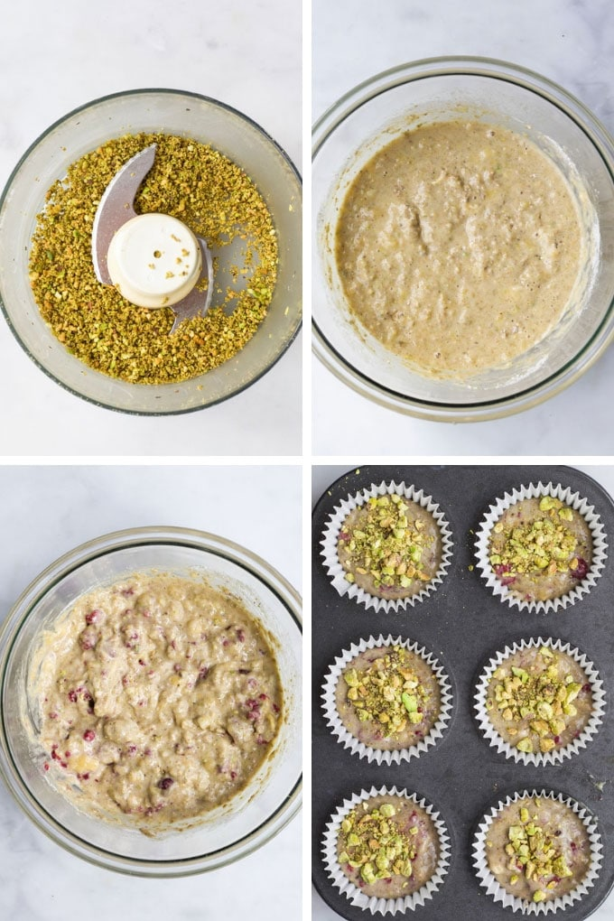 Pistachio and Raspberry Muffins Process Steps