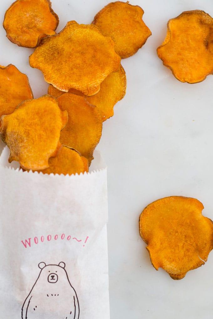 Sweet Potato Chips Spilling from Bag