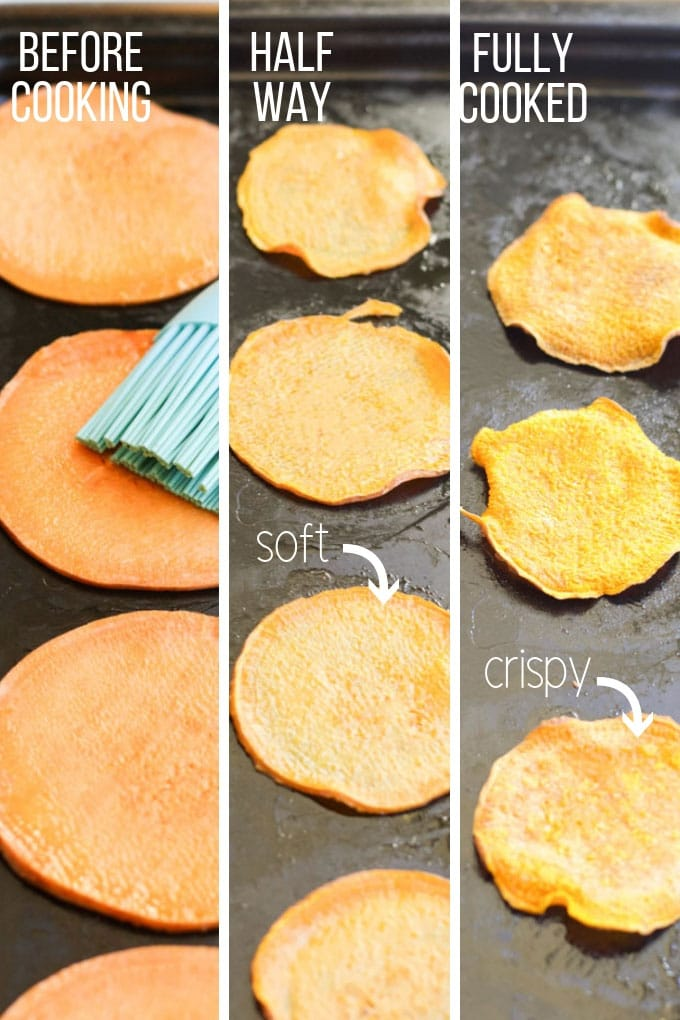 Visual Guide to Illustrate Sweet Potato Chips 1) Before Cooking 2) Half Way and 3) Fully Cooked