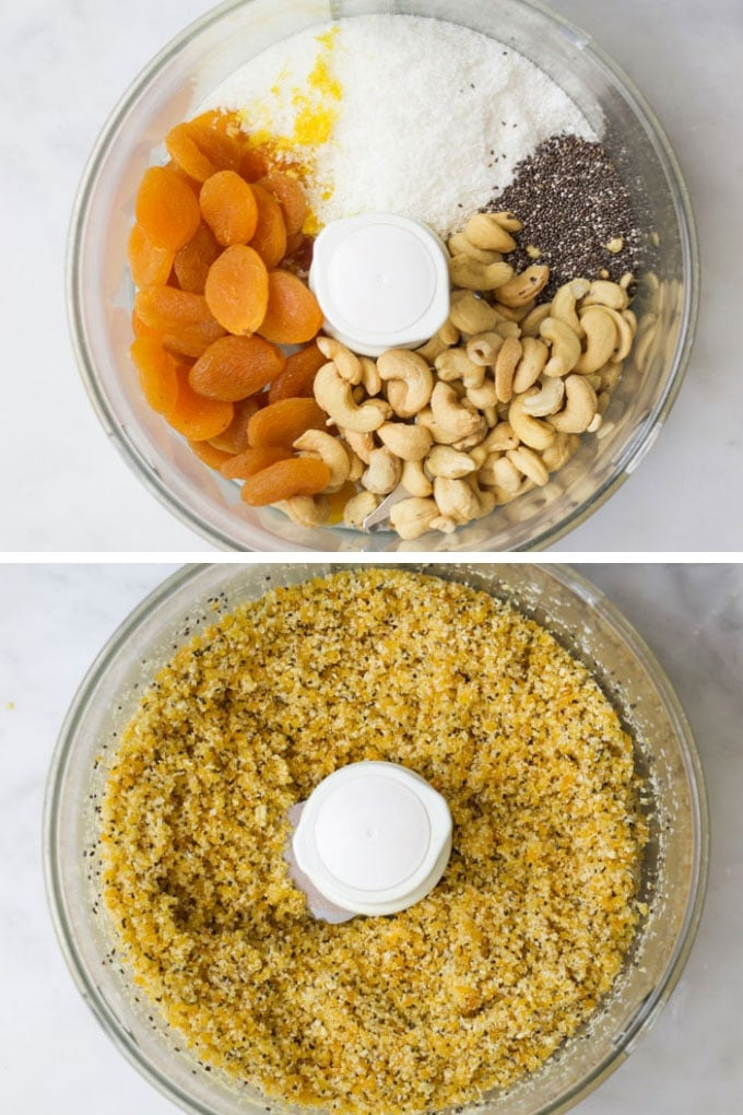 Apricot Balls Ingredients Before and After Blending in Food Processor