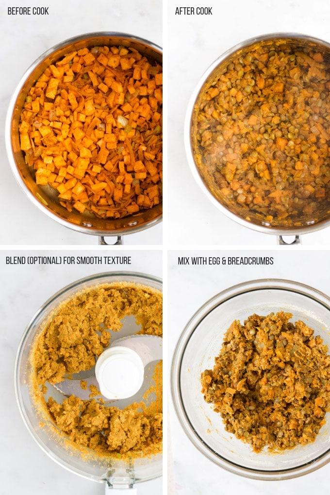 Lentil Burgers Process Steps