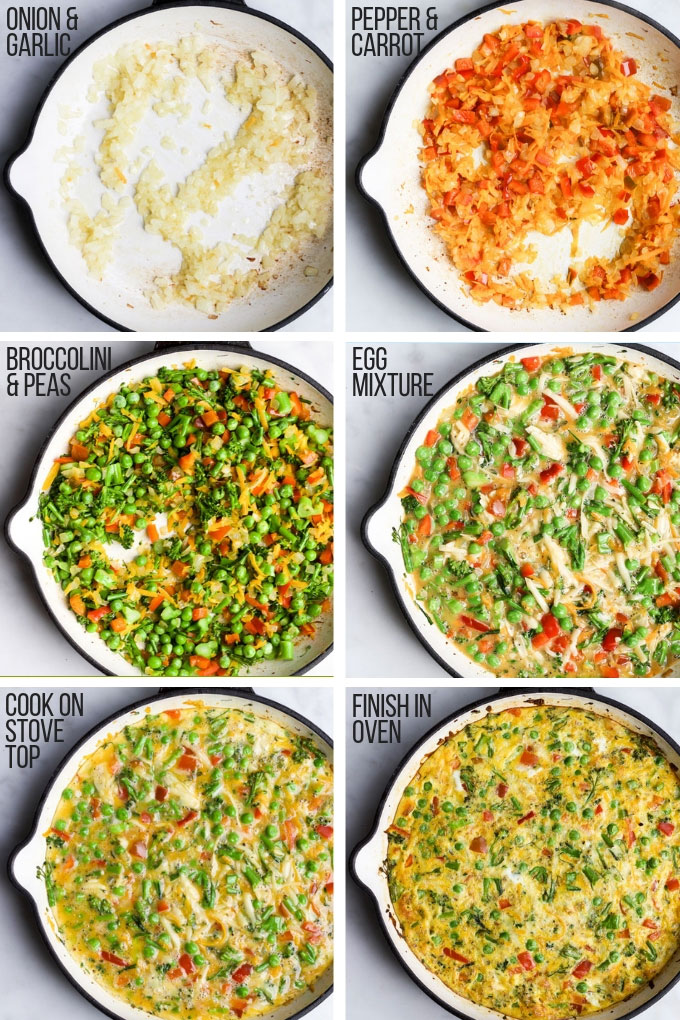 Vegetable Frittata Process Steps Using Cast Iron Pan