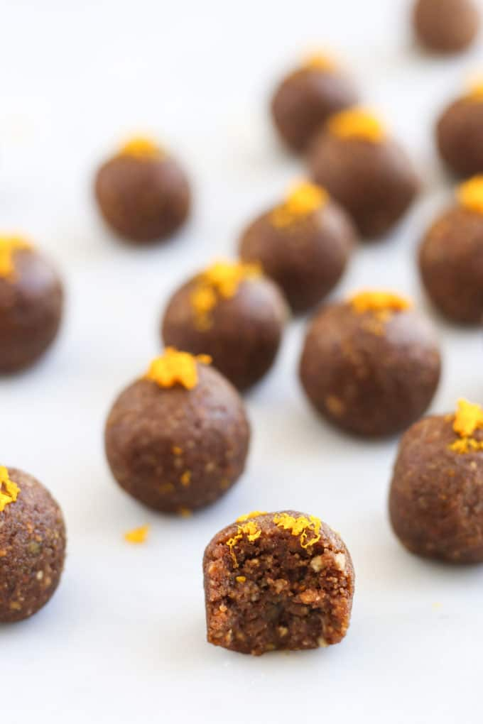Chocolate Orange Energy Balls with Bite Taken Out