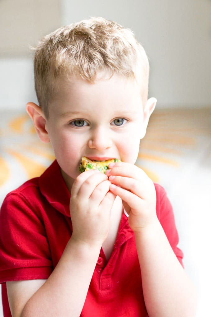 Child Eating Vegetable Frittata