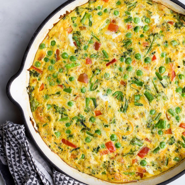 Vegetable Frittata in Cast Iron Pan