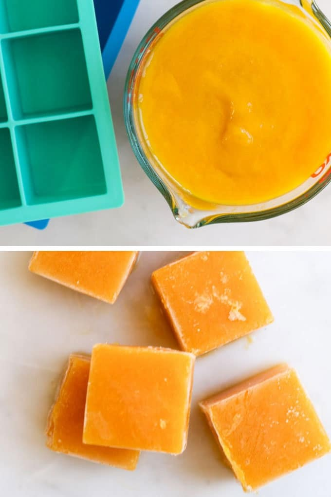 Mango Puree Frozen in Ice Cube Trays