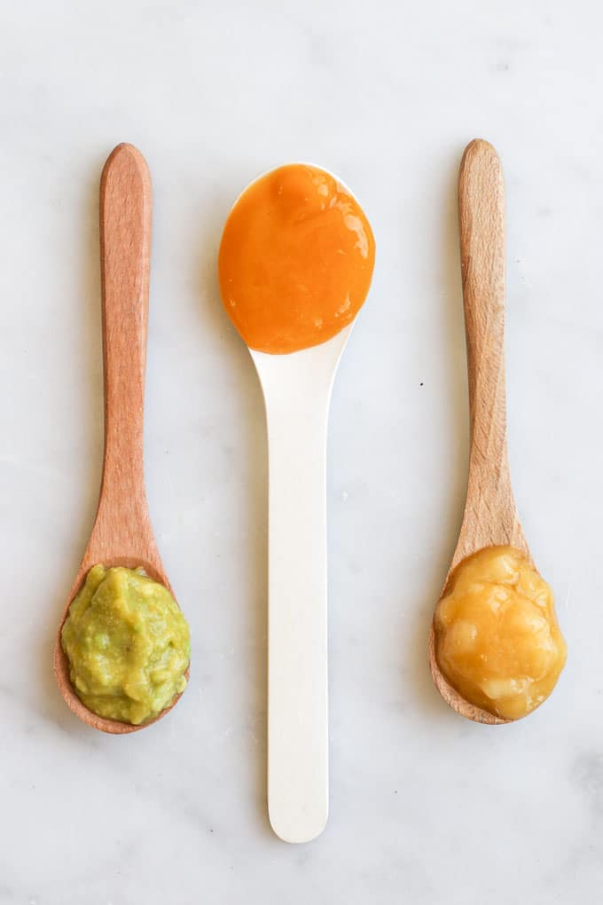 Mango Puree on Spoons for Babies