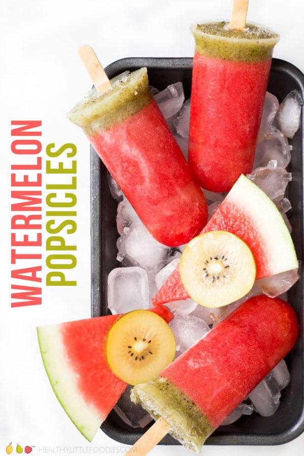 Delicious, NO ADDED SUGAR, watermelon popsicles. Made from only two ingredients, these all-natural ice poles are a delicious summer treat. #watermelonposicles #popsicles #watermelon #icepoles #icelollies #summer #noaddedsugar #healthysummer