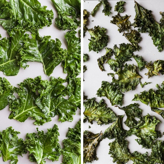 Kale Chips Before and After Baking