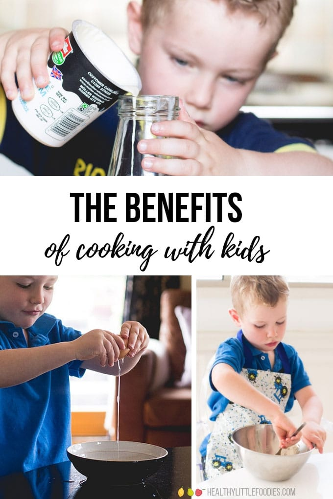 The Benefits of Cooking with Kids with Images Showing Kids Cooking