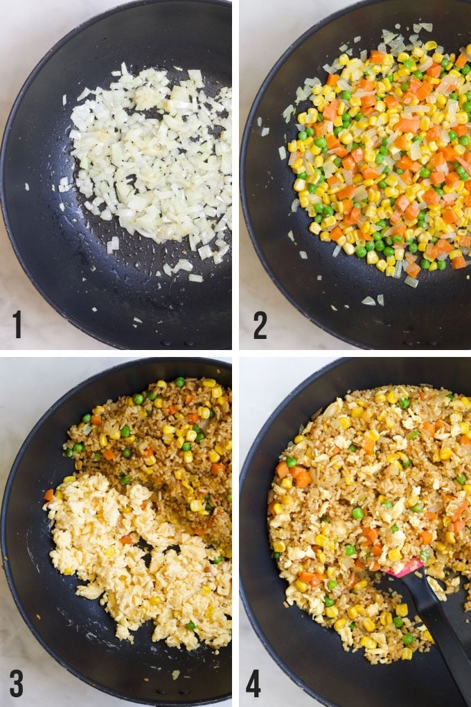 Process Steps for Making Vegetable Fried Rice