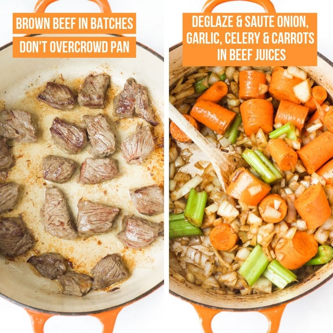 Beef Stew Process Steps - Browning Beef in Pan & Sautéing Vegetables in Pan