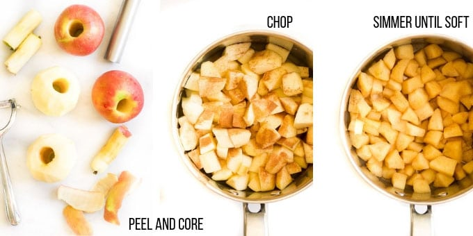 Process Steps for Making Apple Puree - Peel, Chop, Simmer