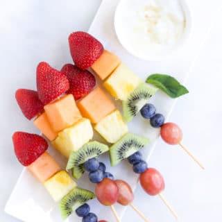 Rainbow Fruit kebabs with a Yoghurt Dip