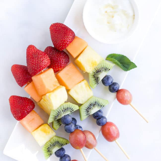 Rainbow Fruit kebabs with a Yoghurt Dip