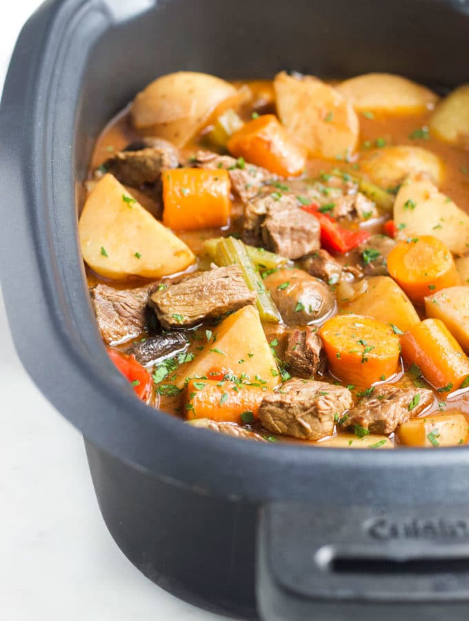 Cooked Slow Cooker Beef Stew in Slow Cooker