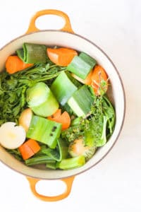 Vegetable Stock Ingredients in Pan